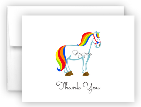 Rainbow Horse Thank You Cards Note Card Stationery •  Flat, Folded or Fill-In-the-Blank