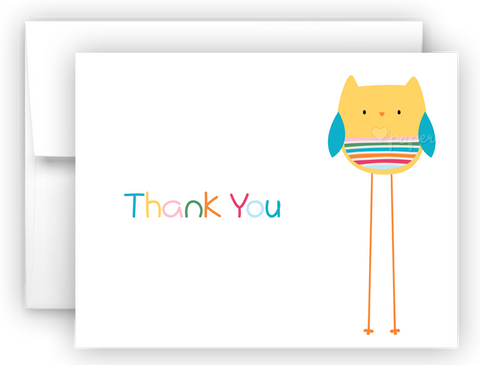 Rainbow Owl Thank You Cards Note Card Stationery •  Flat, Folded or Fill-In-the-Blank