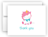 Unicorn Thank You Cards Note Card Stationery •  Flat or Folded Stationery Thank You Cards - Everything Nice