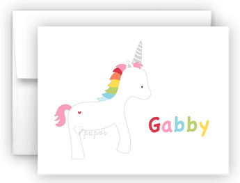 Rainbow Unicorn II Thank You Cards Note Card Stationery •  Flat or Folded Stationery Thank You Cards - Everything Nice