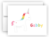 Rainbow Unicorn II Thank You Cards Note Card Stationery •  Flat, Folded or Fill-In-the-Blank Stationery Thank You Cards - Everything Nice