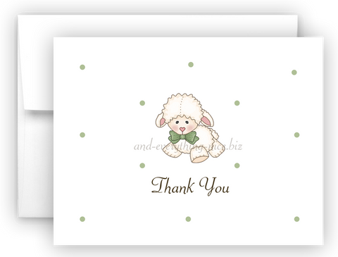 Little Lamb Sheep Printed Thank You Cards • Folded Flat Note Card Stationery
