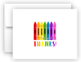 Rainbow Crayons Thank You Cards Note Card Stationery •  Flat, Folded or Fill-In-the-Blank