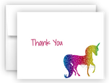 Rainbow Unicorn III Thank You Cards Note Card Stationery •  Flat or Folded Stationery Thank You Cards - Everything Nice