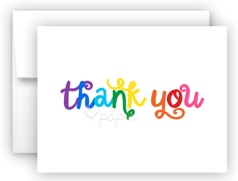 Rainbow Thanks III Thank You Cards Note Card Stationery •  Flat or Folded Stationery Thank You Cards - Everything Nice