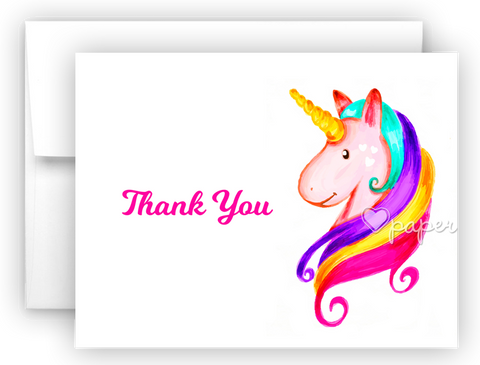 Rainbow Unicorn b Thank You Cards Note Card Stationery •  Flat, Folded or Fill-In-the-Blank