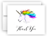 Rainbow Unicorn c Thank You Cards Note Card Stationery •  Flat, Folded or Fill-In-the-Blank Stationery Thank You Cards - Everything Nice