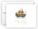 Noah's Ark Printed Thank You Cards • Folded Flat Note Card Stationery