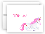 Pink Unicorn II Thank You Cards Note Card Stationery •  Flat, Folded or Fill-In-the-Blank