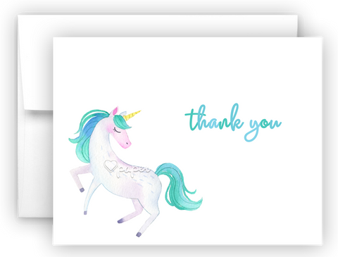 Blue Unicorn Thank You Cards Note Card Stationery •  Flat or Folded Stationery Thank You Cards - Everything Nice