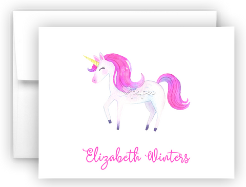 Pink Unicorn III Thank You Cards Note Card Stationery •  Flat or Folded Stationery Thank You Cards - Everything Nice