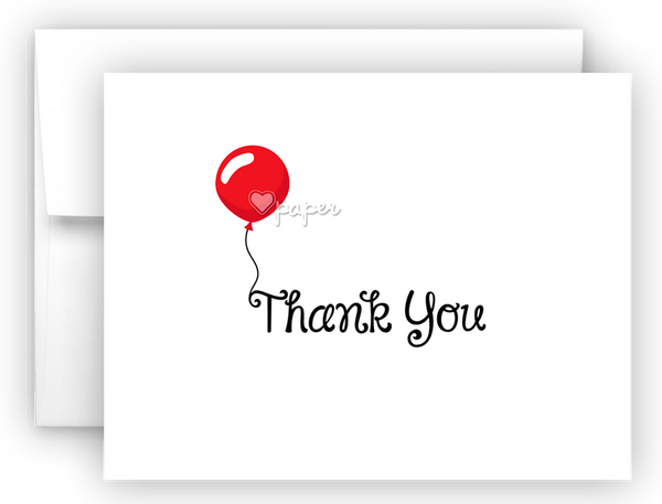 Red Balloon Thank You Cards Note Card Stationery •  Flat or Folded Stationery Thank You Cards - Everything Nice