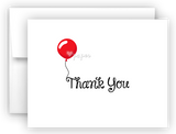 Red Balloon Thank You Cards Note Card Stationery •  Flat, Folded or Fill-In-the-Blank Stationery Thank You Cards - Everything Nice
