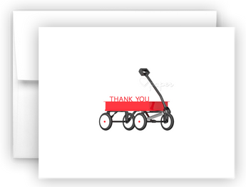 Red Wagon Thank You Cards Note Card Stationery •  Flat or Folded Stationery Thank You Cards - Everything Nice