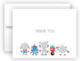 Robot Thank You Cards Note Card Stationery •  Flat or Folded Stationery Thank You Cards - Everything Nice