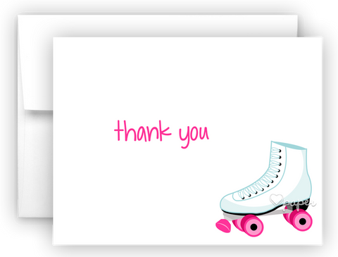 Roller Skate Thank You Cards Note Card Stationery •  Flat, Folded or Fill-In-the-Blank Stationery Thank You Cards - Everything Nice