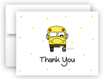 School Bus Thank You Cards Note Card Stationery •  Flat or Folded Stationery Thank You Cards - Everything Nice
