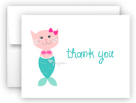 Mercat Mermaid Kitten Cat Printed Thank You Cards • Folded Flat Note Card Stationery