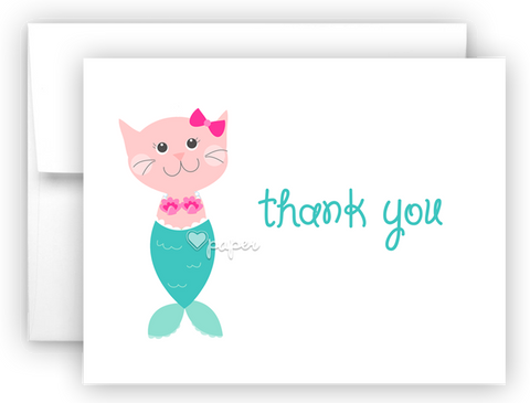 Mercat Mermaid Kitten Cat Printed Thank You Cards • Folded Flat Note Card Stationery Stationery Thank You Cards - Everything Nice