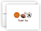 Sports Balls Thank You Cards Note Card Stationery •  Flat, Folded or Fill-In-the-Blank Stationery Thank You Cards - Everything Nice