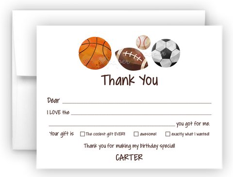 Sports Balls Thank You Cards Note Card Stationery •  Fill In the Blank Stationery Thank You Cards - Everything Nice