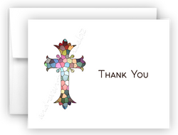 Sained Glass Cross Thank You Cards Note Card Stationery •  Flat, Folded or Fill-In-the-Blank