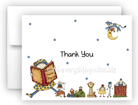 Mother Goose Nursery Rhyme Printed Thank You Cards • Folded Flat Note Card Stationery Stationery Thank You Cards - Everything Nice