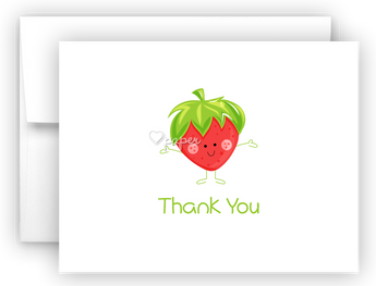 Happy Strawberry Thank You Cards Note Card Stationery •  Flat, Folded or Fill-In-the-Blank Stationery Thank You Cards - Everything Nice