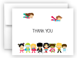 Superhero Kids Thank You Cards Note Card Stationery •  Flat, Folded or Fill-In-the-Blank Stationery Thank You Cards - Everything Nice