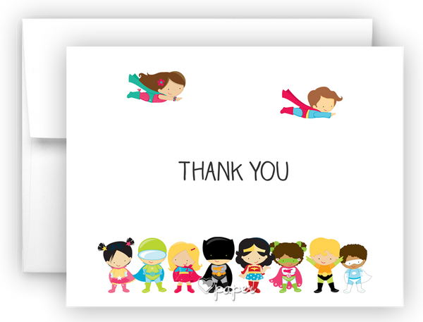 Superhero Kids Thank You Cards Note Card Stationery •  Flat or Folded Stationery Thank You Cards - Everything Nice