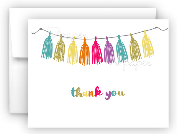 Rainbow Tassel Thank You Cards Note Card Stationery •  Flat, Folded or Fill-In-the-Blank