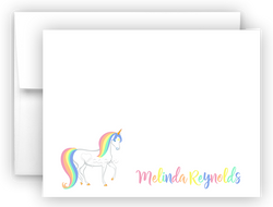 Rainbow Unicorn f Thank You Cards Note Card Stationery •  Flat, Folded or Fill-In-the-Blank Stationery Thank You Cards - Everything Nice