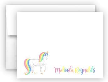 Rainbow Unicorn f Thank You Cards Note Card Stationery •  Flat or Folded Stationery Thank You Cards - Everything Nice