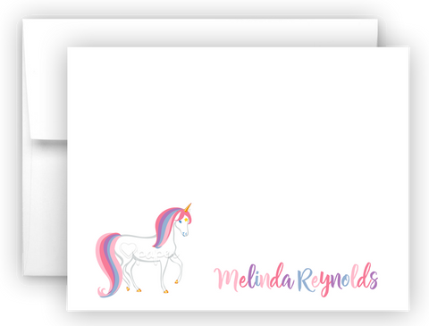 Rainbow Unicorn g Thank You Cards Note Card Stationery •  Flat or Folded Stationery Thank You Cards - Everything Nice