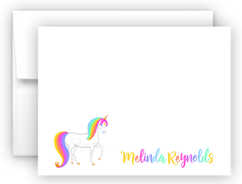 Rainbow Unicorn h Thank You Cards Note Card Stationery •  Flat, Folded or Fill-In-the-Blank Stationery Thank You Cards - Everything Nice
