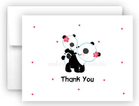 Panda Bear Printed Thank You Cards • Folded Flat Note Card Stationery Stationery Thank You Cards - Everything Nice