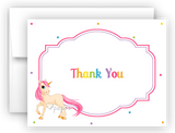 Rainbow Unicorn i Thank You Cards Note Card Stationery •  Flat, Folded or Fill-In-the-Blank Stationery Thank You Cards - Everything Nice