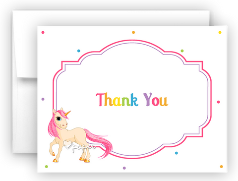 Rainbow Unicorn i Thank You Cards Note Card Stationery •  Flat or Folded Stationery Thank You Cards - Everything Nice