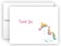 Rainbow Unicorn j Thank You Cards Note Card Stationery •  Flat, Folded or Fill-In-the-Blank Stationery Thank You Cards - Everything Nice