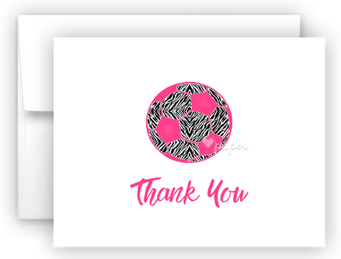 Zebra Soccer Ball Thank You Cards Note Card Stationery •  Flat, Folded or Fill-In-the-Blank