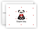 Panda Bear II Printed Thank You Cards • Folded Flat Note Card Stationery