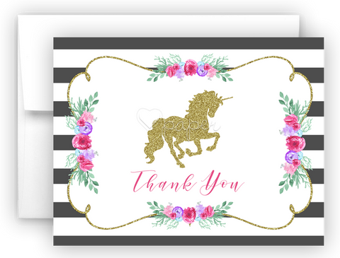 Unicorn k Thank You Cards Note Card Stationery •  Flat, Folded or Fill-In-the-Blank
