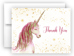 Unicorn L Thank You Cards Note Card Stationery •  Flat, Folded or Fill-In-the-Blank