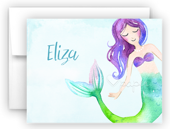Mermaid m Thank You Cards Note Card Stationery •  Flat or Folded Stationery Thank You Cards - Everything Nice