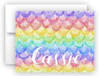Rainbow Mermaid Scales Thank You Cards Note Card Stationery •  Flat or Folded Stationery Thank You Cards - Everything Nice