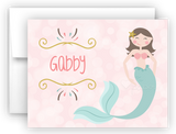 Mermaid n Thank You Cards Note Card Stationery •  Flat, Folded or Fill-In-the-Blank Stationery Thank You Cards - Everything Nice