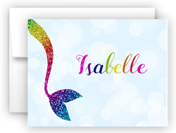 Rainbow Mermaid Tail m Thank You Cards Note Card Stationery •  Flat, Folded or Fill-In-the-Blank