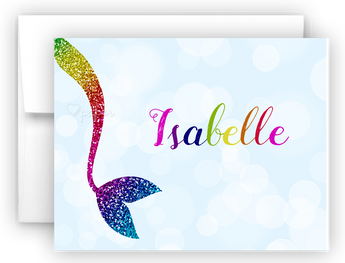 Rainbow Mermaid Tail m Thank You Cards Note Card Stationery •  Flat or Folded Stationery Thank You Cards - Everything Nice