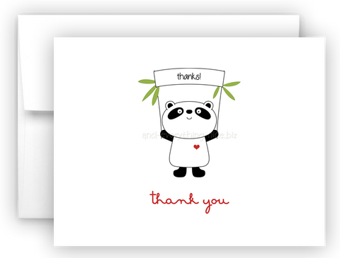 Panda Bear III Printed Thank You Cards • Folded Flat Note Card Stationery Stationery Thank You Cards - Everything Nice