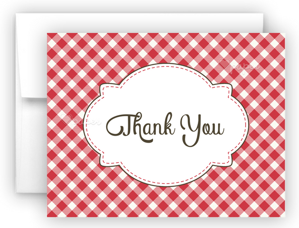 Picnic Thank You Cards Note Card Stationery •  Flat, Folded or Fill-In-the-Blank